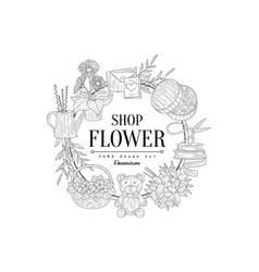 Flower shop vintage sketch vector