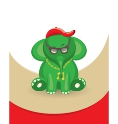Green music elephant vector