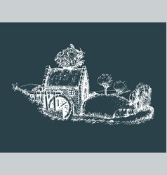 Hand sketched of old rustic water mill vector