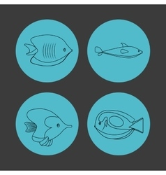 Icon set over circles sea life design vector