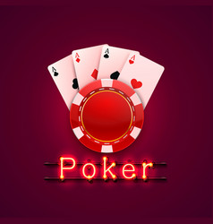 neon poker chips and cards casino banner vector image vector image