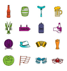 oktoberfest icons doodle set vector image