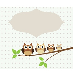 owl family card vector image