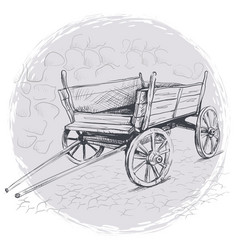 Pencil drawing old cart on a gray background vector