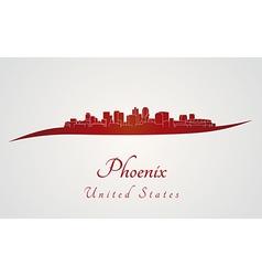 Phoenix skyline in red vector image