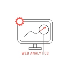 red and black web analytics icon vector image