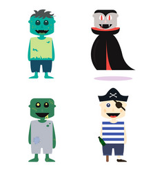 set of halloween costume zombie characters vector image