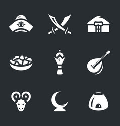 Set of kazakhstan nomad icons vector