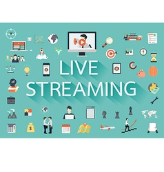 The word live streaming with long shadow surrounde vector