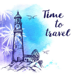 travel background with lighthouse vector image vector image