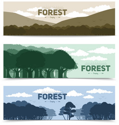 Tree forest banners set vector