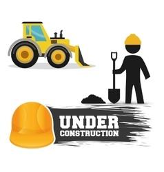 Under construction worker shovel cement excavator vector