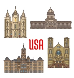 Usa travel landmarks icon of utah architecture vector