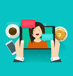 Video chat or call flat vector
