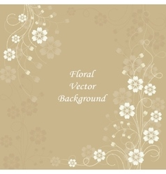 Beautiful floral pattern on brown background vector image