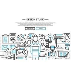 Design Studio - simple line website banner vector image