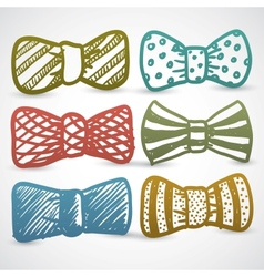 Doodle style bow tie mens clothing assortment vector image