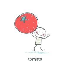 Man and tomato vector
