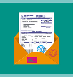 Paper mail envelope with tax declaration vector