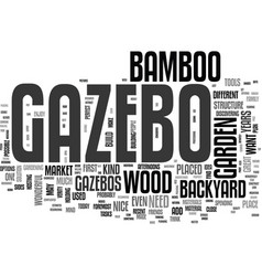 Wood and bamboo gazebo text word cloud concept vector