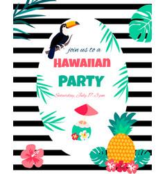 Hawaiian bright invitation pineappletoucan text vector