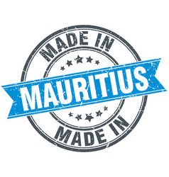 Made in mauritius blue round vintage stamp vector