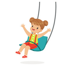 cute little girl swinging on a swing kid have a vector image