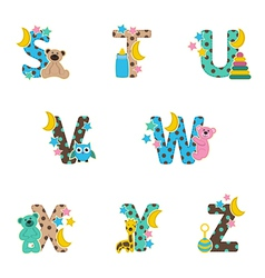 Alphabet baby from s to z vector