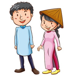 People wearing the asian costume vector