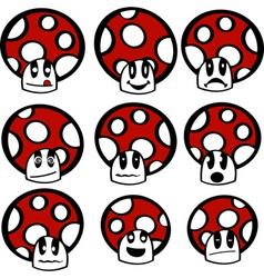 mushroom emoticons vector image
