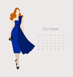 Calendar with fashion girl 2015 vector