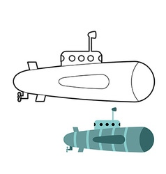 Submarine coloring book ship to swim underwater vector