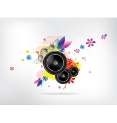 Abstract musical background with floral elements vector
