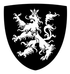 Rampant lion coat of arms vector