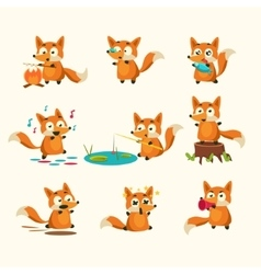 Fox activities with different emotions vector