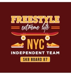 Skateboard graphic design for t-shirt nyc vector