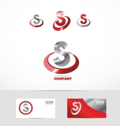 Letter S red metal logo icon vector image
