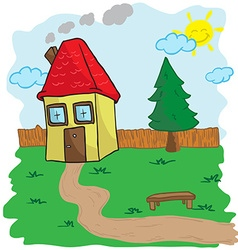 House with yard and bench vector