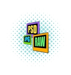 Psd jpg raw file icon comics style vector