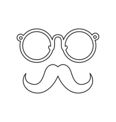 Mustache and glasses icon hipster style concept vector