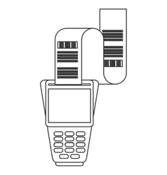 Dataphone with receipt icon line design vector