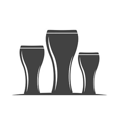Three beer glasses Weizen type Black icon logo vector image