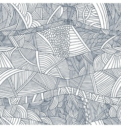 Abstract seamless patterns with hand-drawn doodle vector image vector image