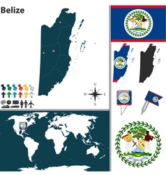 Belize map vector image vector image