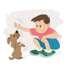 Boy playing with a dog vector