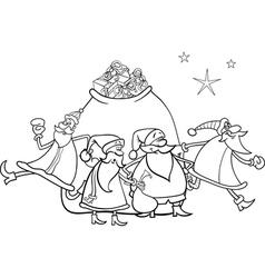 christmas santa claus coloring page vector image vector image