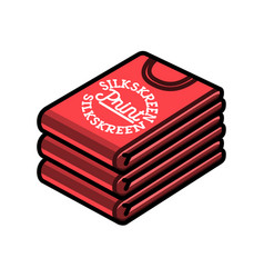 Color vintage silkskreen print emblem vector