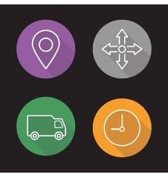 Delivery service flat linear icons set vector
