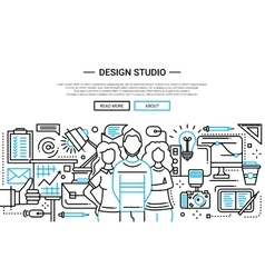 Design studio - simple line website banner vector