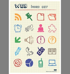Doodle Internet web icons set vector image vector image